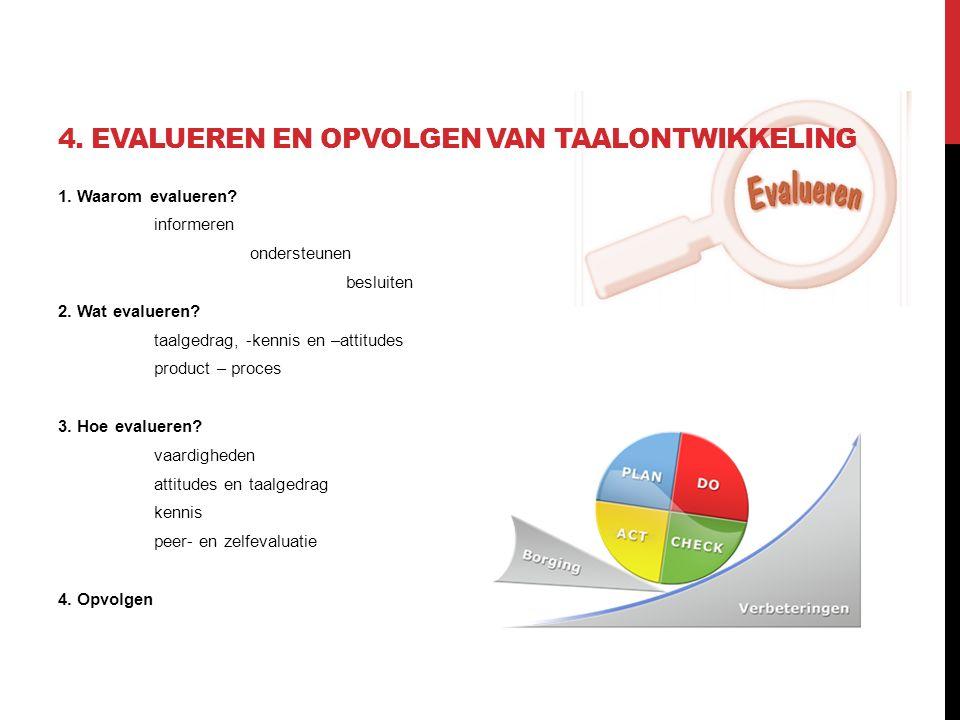 4. EVALUEREN EN OPVOLGEN VAN TAALONTWIKKELING 1. Waarom evalueren? informeren ondersteunen besluiten 2. Wat evalueren? taalgedrag, -kennis en –attitud