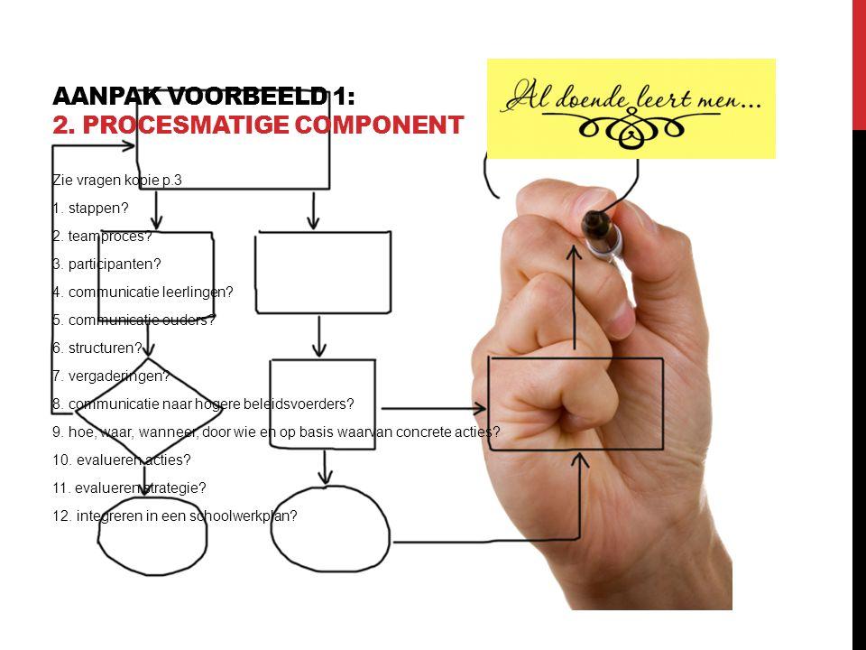 AANPAK VOORBEELD 1: 2. PROCESMATIGE COMPONENT Zie vragen kopie p.3 1. stappen? 2. teamproces? 3. participanten? 4. communicatie leerlingen? 5. communi