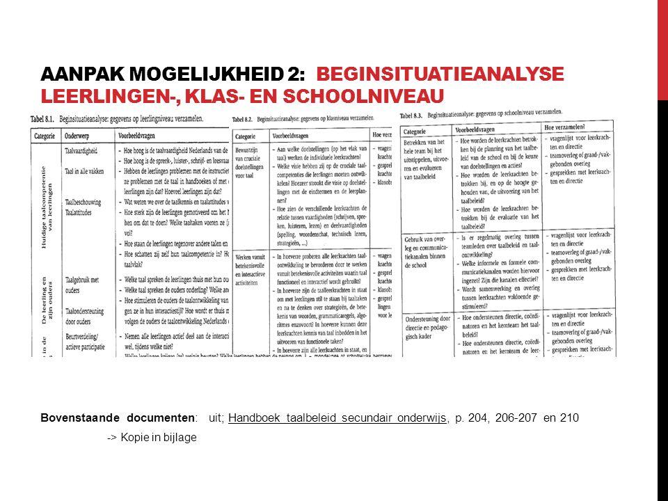 AANPAK MOGELIJKHEID 2: BEGINSITUATIEANALYSE LEERLINGEN-, KLAS- EN SCHOOLNIVEAU Bovenstaande documenten: uit; Handboek taalbeleid secundair onderwijs,