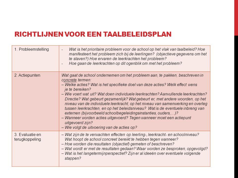 RICHTLIJNEN VOOR EEN TAALBELEIDSPLAN 1. Probleemstelling-Wat is het prioritaire probleem voor de school op het vlak van taalbeleid? Hoe manifesteert h