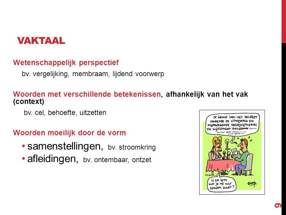 9 VAKTAAL Wetenschappelijk perspectief bv. vergelijking, membraam, lijdend voorwerp Woorden met verschillende betekenissen, afhankelijk van het vak (c
