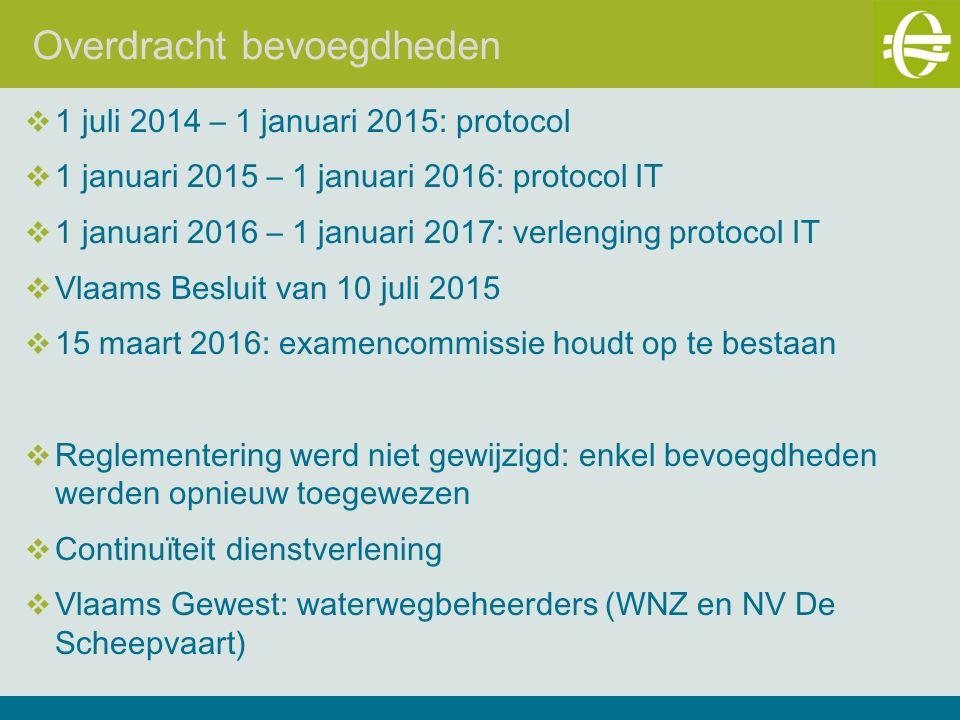 Overdracht bevoegdheden  1 juli 2014 – 1 januari 2015: protocol  1 januari 2015 – 1 januari 2016: protocol IT  1 januari 2016 – 1 januari 2017: verlenging protocol IT  Vlaams Besluit van 10 juli 2015  15 maart 2016: examencommissie houdt op te bestaan  Reglementering werd niet gewijzigd: enkel bevoegdheden werden opnieuw toegewezen  Continuïteit dienstverlening  Vlaams Gewest: waterwegbeheerders (WNZ en NV De Scheepvaart)