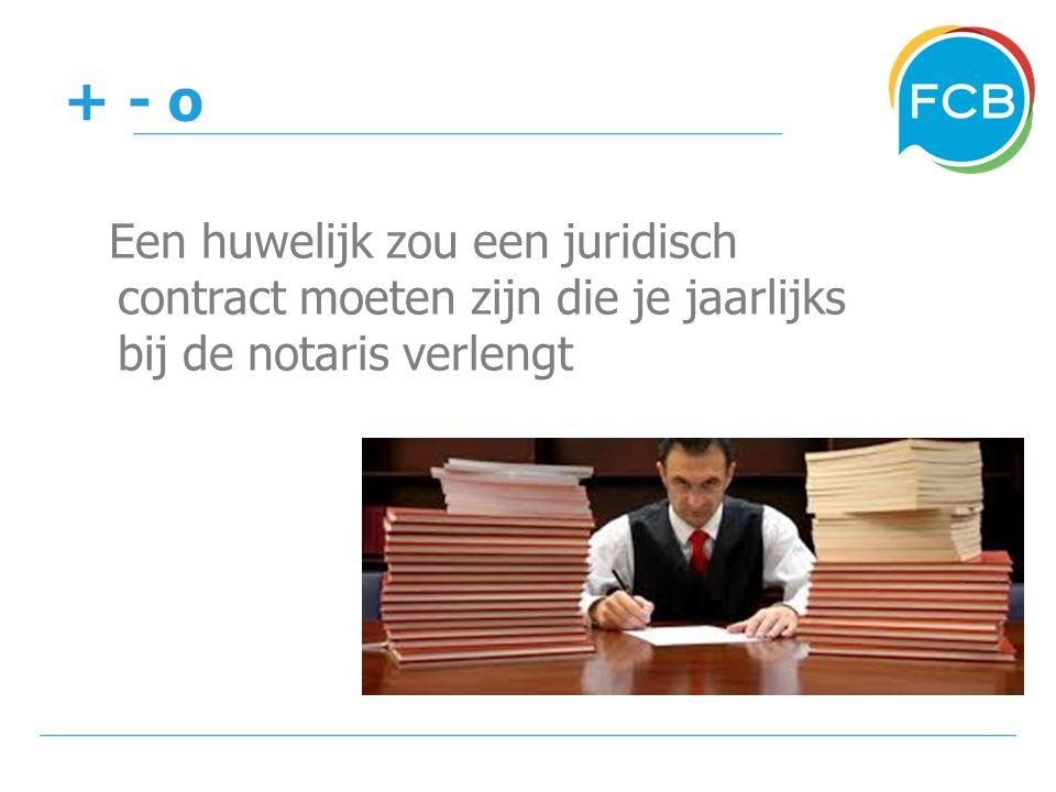+ - o Een huwelijk zou een juridisch contract moeten zijn die je jaarlijks bij de notaris verlengt
