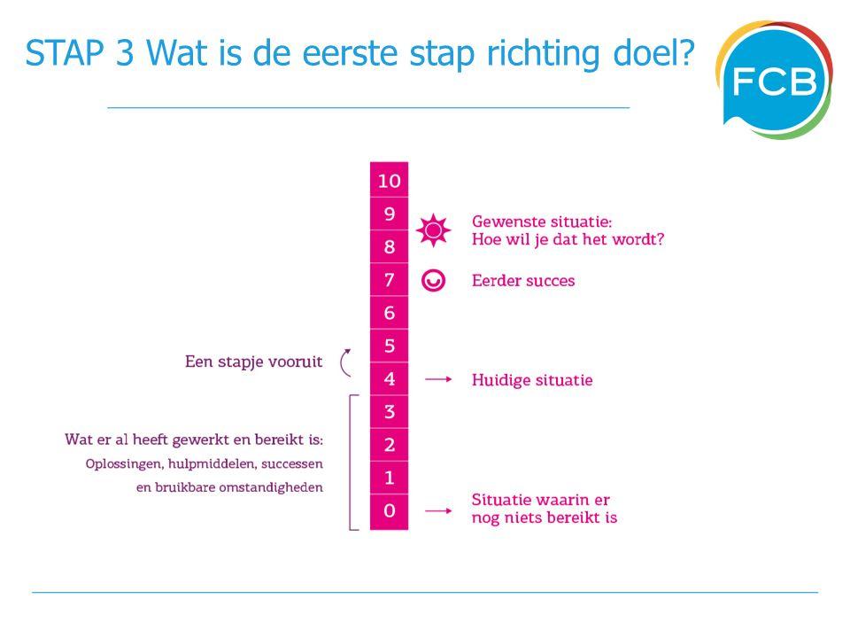 STAP 3 Wat is de eerste stap richting doel