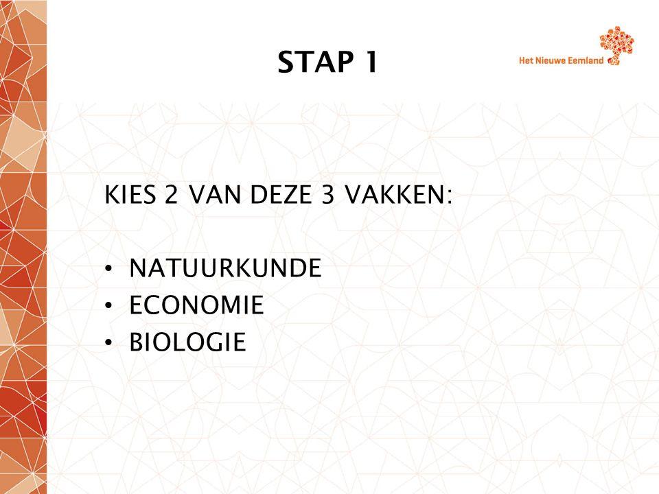 STAP 1 KIES 2 VAN DEZE 3 VAKKEN: NATUURKUNDE ECONOMIE BIOLOGIE