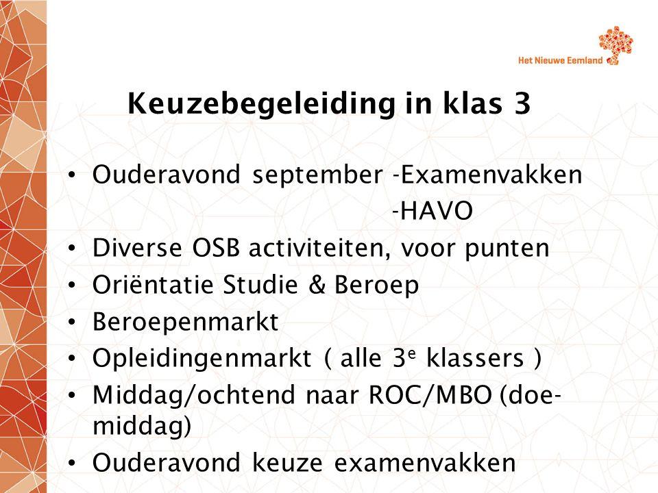 Keuzebegeleiding in klas 3 Ouderavond september -Examenvakken -HAVO Diverse OSB activiteiten, voor punten Oriëntatie Studie & Beroep Beroepenmarkt Opl