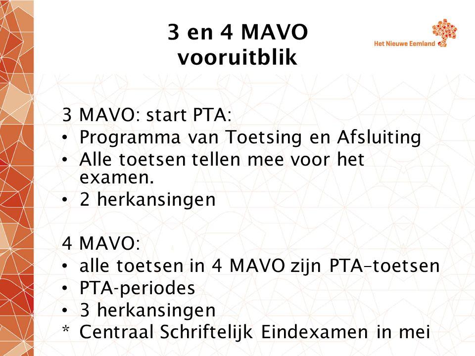 3 en 4 MAVO vooruitblik 3 MAVO: start PTA: Programma van Toetsing en Afsluiting Alle toetsen tellen mee voor het examen. 2 herkansingen 4 MAVO: alle t