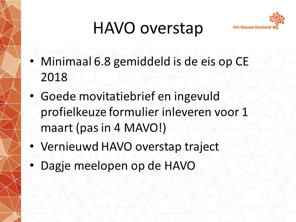 HAVO overstap Minimaal 6.8 gemiddeld is de eis op CE 2018 Goede movitatiebrief en ingevuld profielkeuze formulier inleveren voor 1 maart (pas in 4 MAVO!) Vernieuwd HAVO overstap traject Dagje meelopen op de HAVO