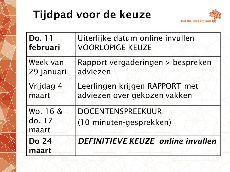 Tijdpad voor de keuze Do. 11 februari Uiterlijke datum online invullen VOORLOPIGE KEUZE Week van 29 januari Rapport vergaderingen > bespreken adviezen