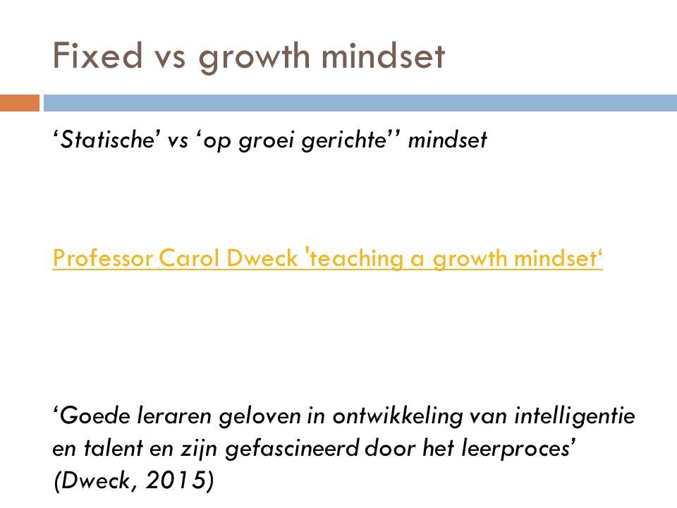 Fixed vs growth mindset 'Statische' vs 'op groei gerichte'' mindset Professor Carol Dweck 'teaching a growth mindset' 'Goede leraren geloven in ontwik