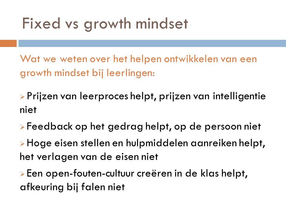 Fixed vs growth mindset Wat we weten over het helpen ontwikkelen van een growth mindset bij leerlingen:  Prijzen van leerproces helpt, prijzen van in