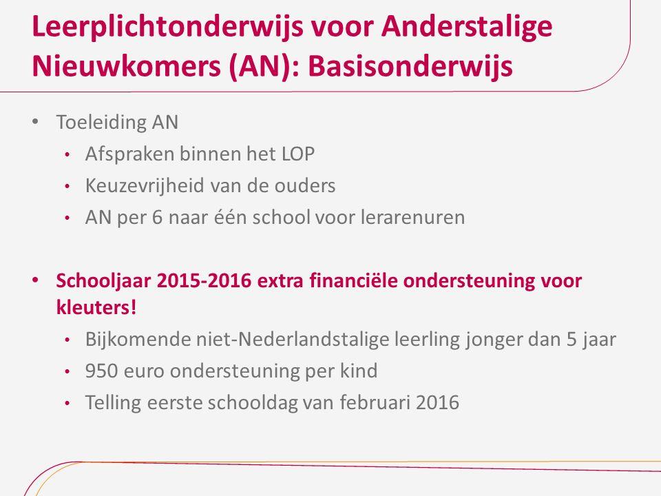 Leerplichtonderwijs voor Anderstalige Nieuwkomers (AN): Basisonderwijs Toeleiding AN Afspraken binnen het LOP Keuzevrijheid van de ouders AN per 6 naa