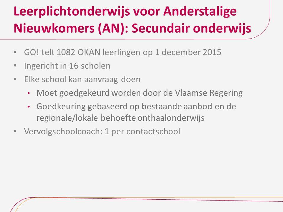 Leerplichtonderwijs voor Anderstalige Nieuwkomers (AN): Secundair onderwijs GO! telt 1082 OKAN leerlingen op 1 december 2015 Ingericht in 16 scholen E