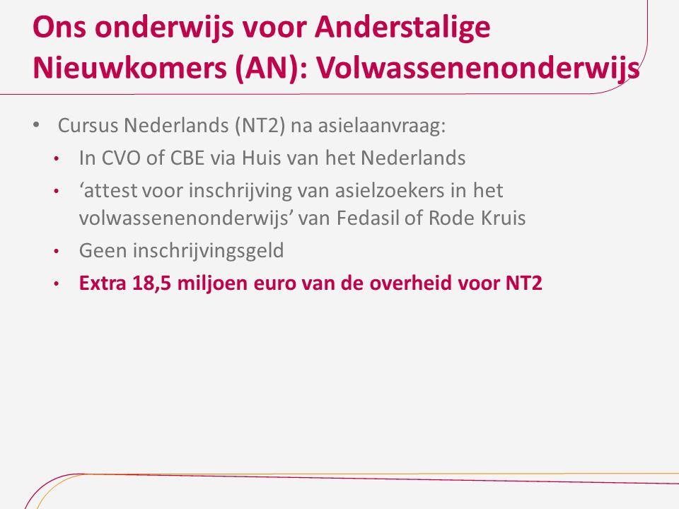 Ons onderwijs voor Anderstalige Nieuwkomers (AN): Volwassenenonderwijs Cursus Nederlands (NT2) na asielaanvraag: In CVO of CBE via Huis van het Nederl