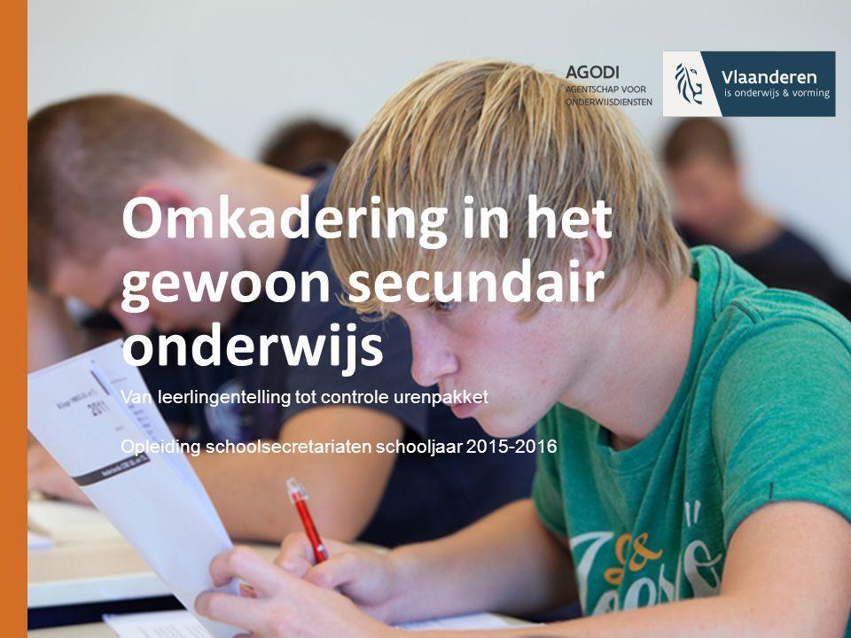 Omkadering in het gewoon secundair onderwijs Van leerlingentelling tot controle urenpakket Opleiding schoolsecretariaten schooljaar 2015-2016