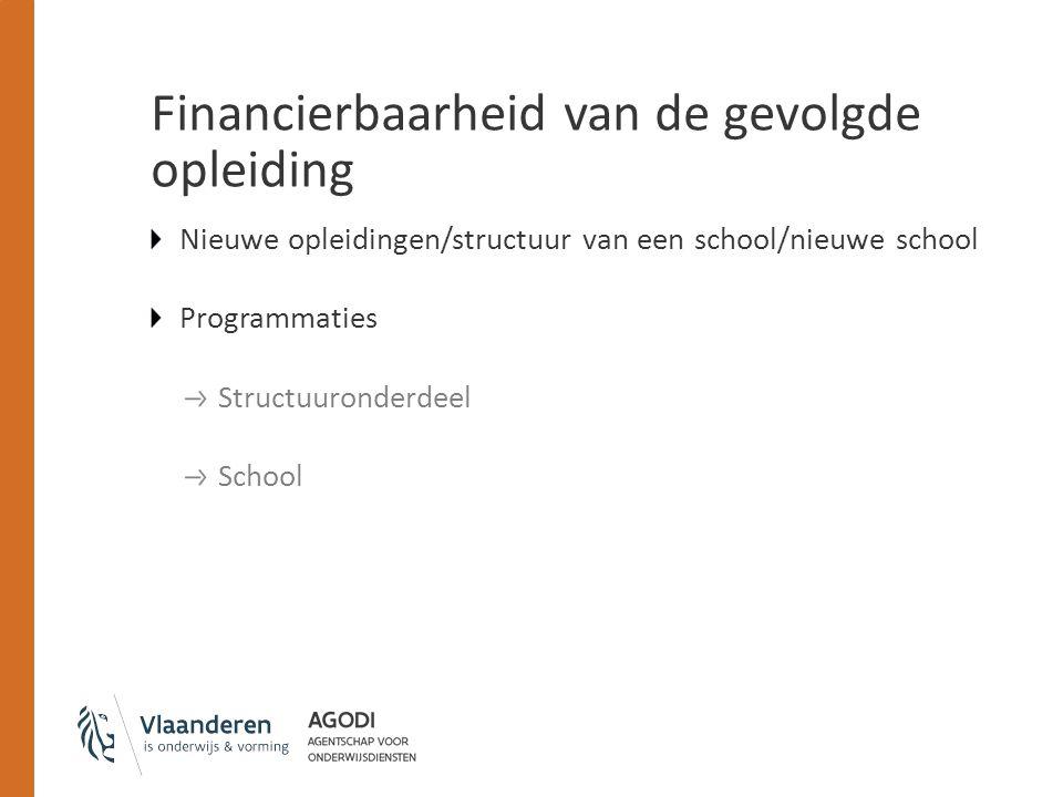 Financierbaarheid van de gevolgde opleiding Nieuwe opleidingen/structuur van een school/nieuwe school Programmaties Structuuronderdeel School