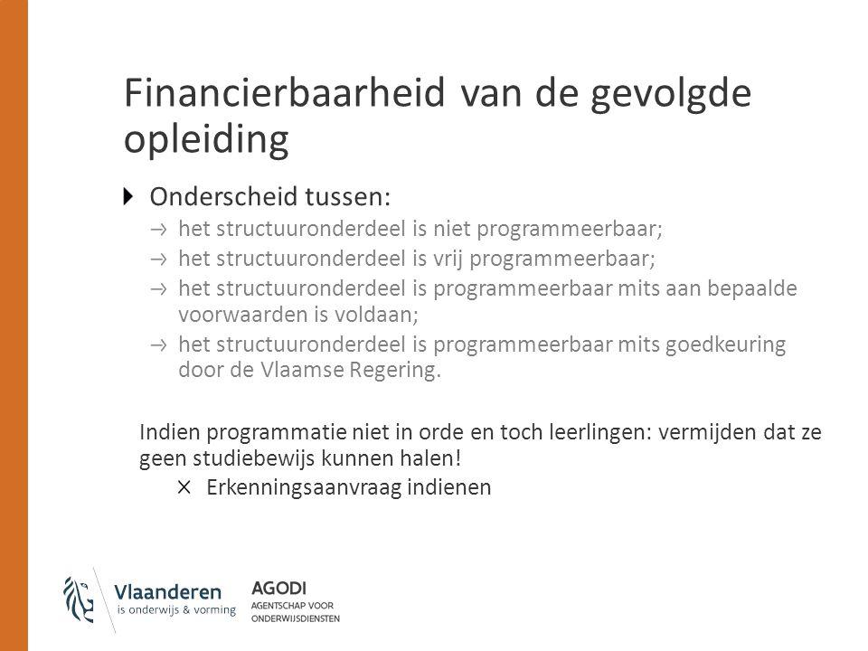 Financierbaarheid van de gevolgde opleiding Onderscheid tussen: het structuuronderdeel is niet programmeerbaar; het structuuronderdeel is vrij programmeerbaar; het structuuronderdeel is programmeerbaar mits aan bepaalde voorwaarden is voldaan; het structuuronderdeel is programmeerbaar mits goedkeuring door de Vlaamse Regering.