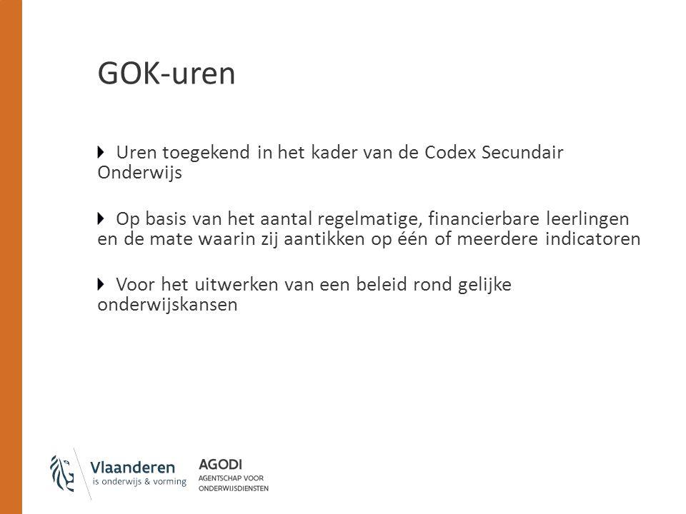 GOK-uren Uren toegekend in het kader van de Codex Secundair Onderwijs Op basis van het aantal regelmatige, financierbare leerlingen en de mate waarin zij aantikken op één of meerdere indicatoren Voor het uitwerken van een beleid rond gelijke onderwijskansen