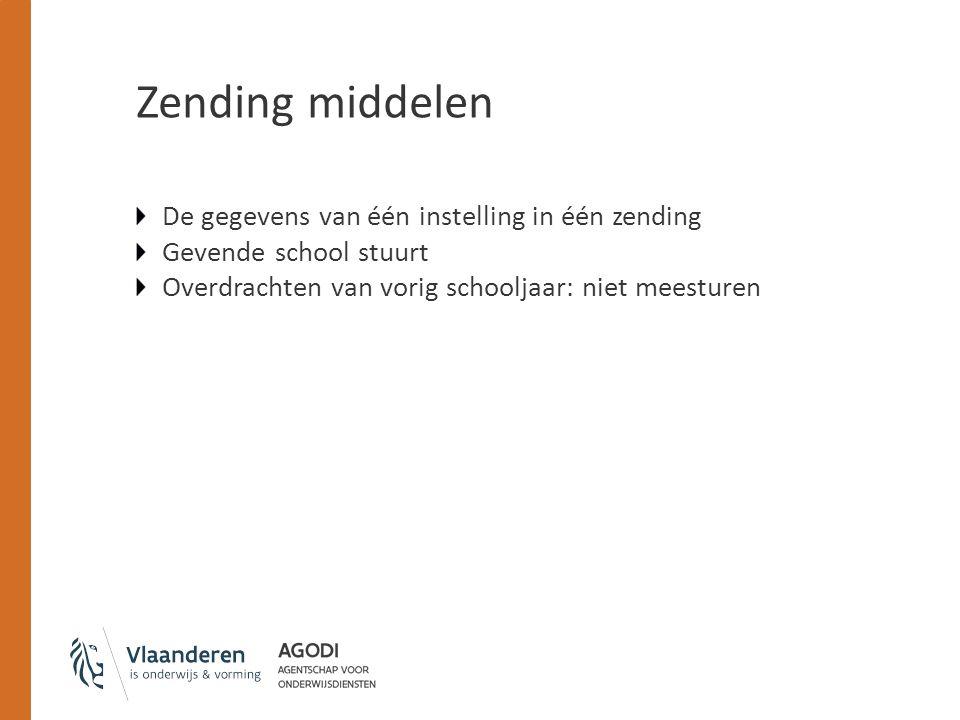 Zending middelen De gegevens van één instelling in één zending Gevende school stuurt Overdrachten van vorig schooljaar: niet meesturen