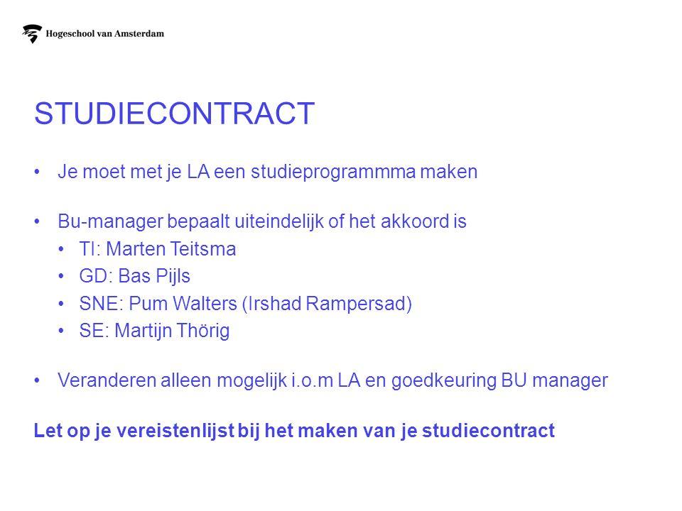STUDIECONTRACT Je moet met je LA een studieprogrammma maken Bu-manager bepaalt uiteindelijk of het akkoord is TI: Marten Teitsma GD: Bas Pijls SNE: Pu