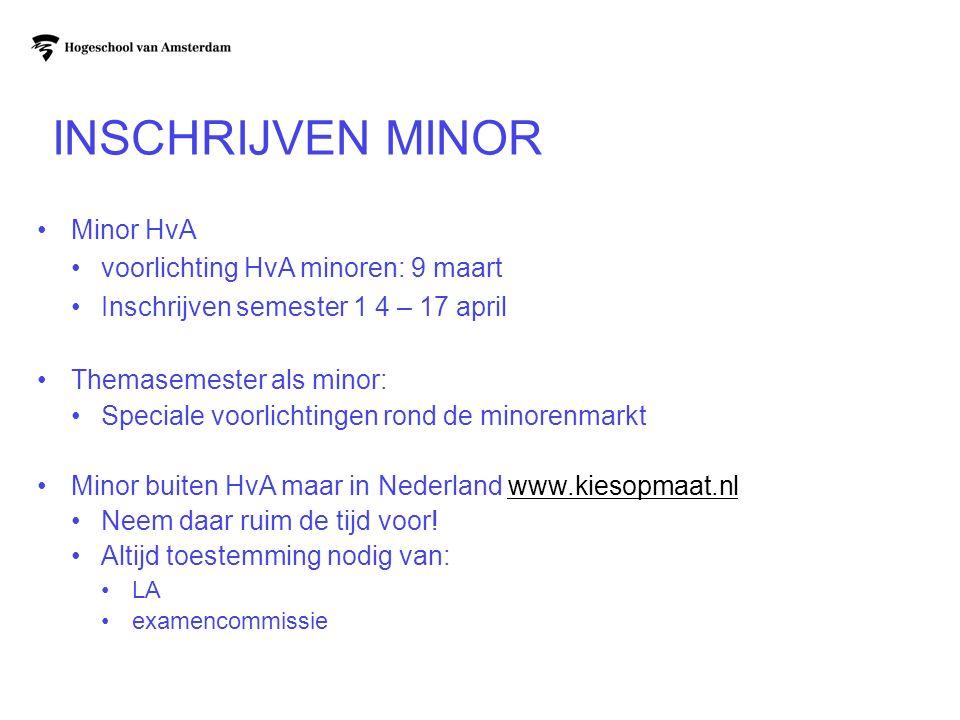 INSCHRIJVEN MINOR Minor HvA voorlichting HvA minoren: 9 maart Inschrijven semester 1 4 – 17 april Themasemester als minor: Speciale voorlichtingen ron