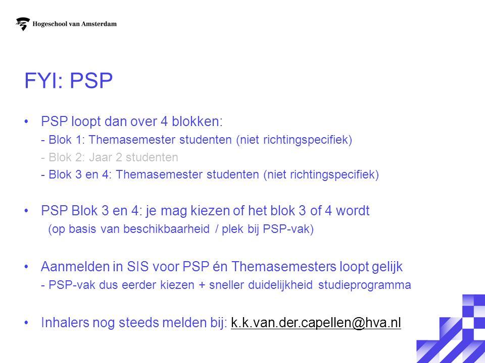 FYI: PSP PSP loopt dan over 4 blokken: - Blok 1: Themasemester studenten (niet richtingspecifiek) - Blok 2: Jaar 2 studenten - Blok 3 en 4: Themasemes