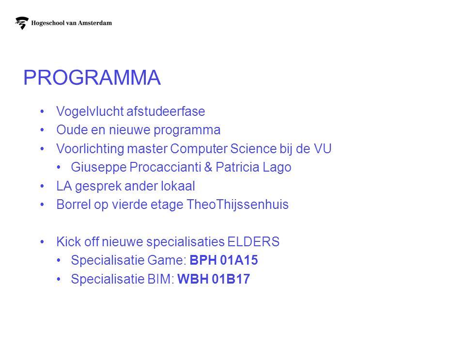PROGRAMMA Vogelvlucht afstudeerfase Oude en nieuwe programma Voorlichting master Computer Science bij de VU Giuseppe Procaccianti & Patricia Lago LA g