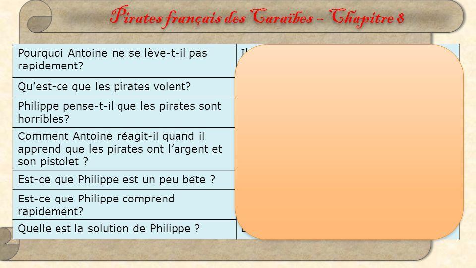 Pirates français des Caraïbes – Chapitre 8 Détermination Mais, nous avons notre mémoire … Antoine est dans la cabine de son navire
