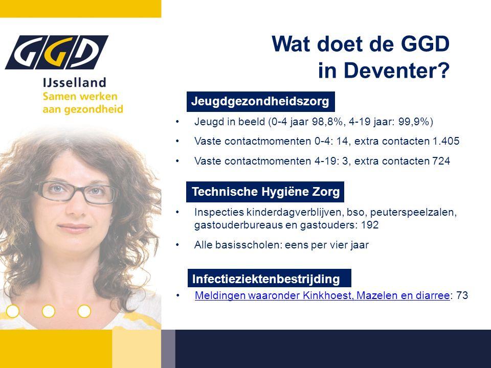 Wat doet de GGD in Deventer? Jeugd in beeld (0-4 jaar 98,8%, 4-19 jaar: 99,9%) Vaste contactmomenten 0-4: 14, extra contacten 1.405 Vaste contactmomen