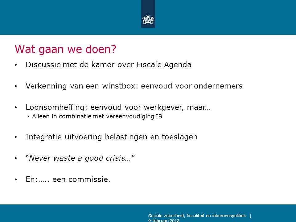 Wat gaan we doen? Discussie met de kamer over Fiscale Agenda Verkenning van een winstbox: eenvoud voor ondernemers Loonsomheffing: eenvoud voor werkge