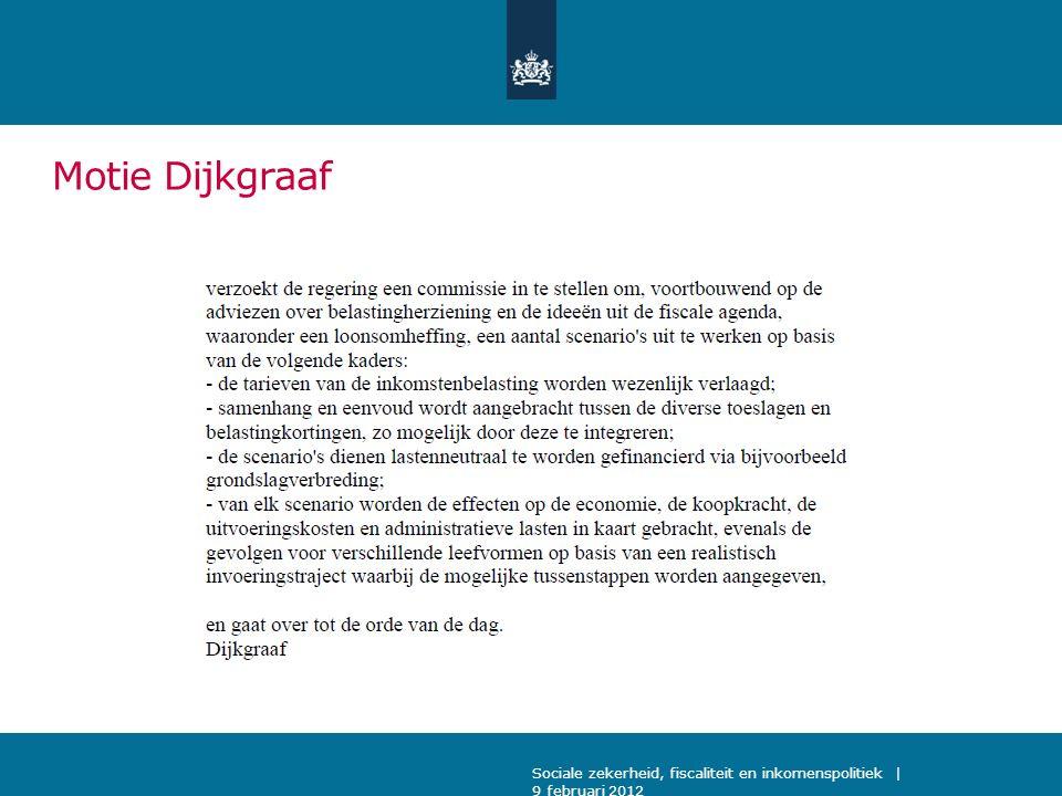 Motie Dijkgraaf Sociale zekerheid, fiscaliteit en inkomenspolitiek | 9 februari 2012