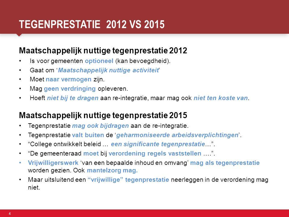 4 Faculteit der Sociale Wetenschappen TEGENPRESTATIE 2012 VS 2015 Maatschappelijk nuttige tegenprestatie 2012 Is voor gemeenten optioneel (kan bevoegdheid).