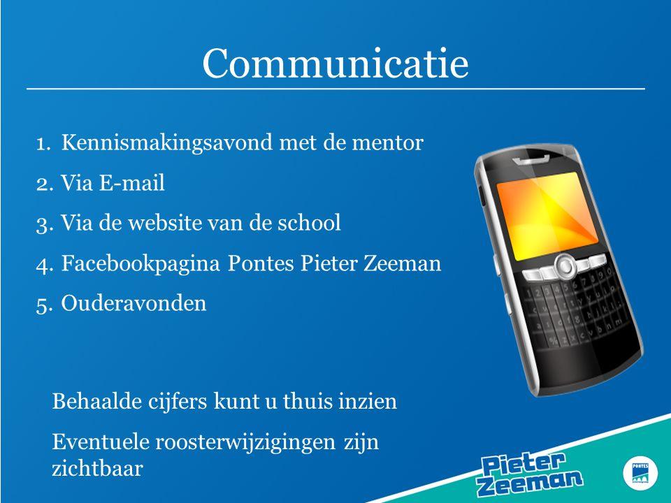 Communicatie 1.Kennismakingsavond met de mentor 2.Via E-mail 3.Via de website van de school 4.Facebookpagina Pontes Pieter Zeeman 5.Ouderavonden Behaa