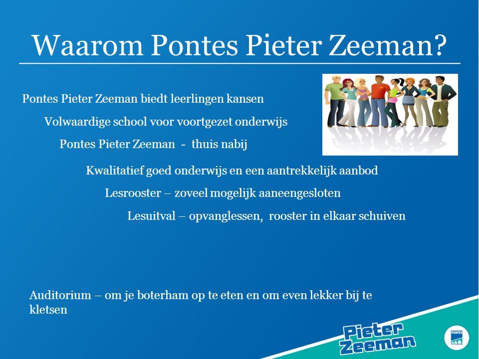 Waarom Pontes Pieter Zeeman? Pontes Pieter Zeeman biedt leerlingen kansen Pontes Pieter Zeeman - thuis nabij Lesrooster – zoveel mogelijk aaneengeslot