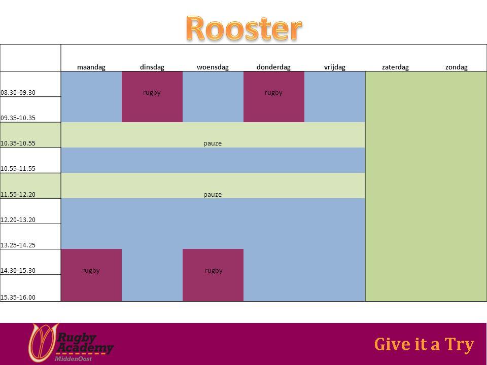 maandagdinsdagwoensdagdonderdagvrijdagzaterdagzondag 08.30-09.30 rugby 09.35-10.35 10.35-10.55 pauze 10.55-11.55 11.55-12.20 pauze 12.20-13.20 13.25-14.25 14.30-15.30rugby 15.35-16.00