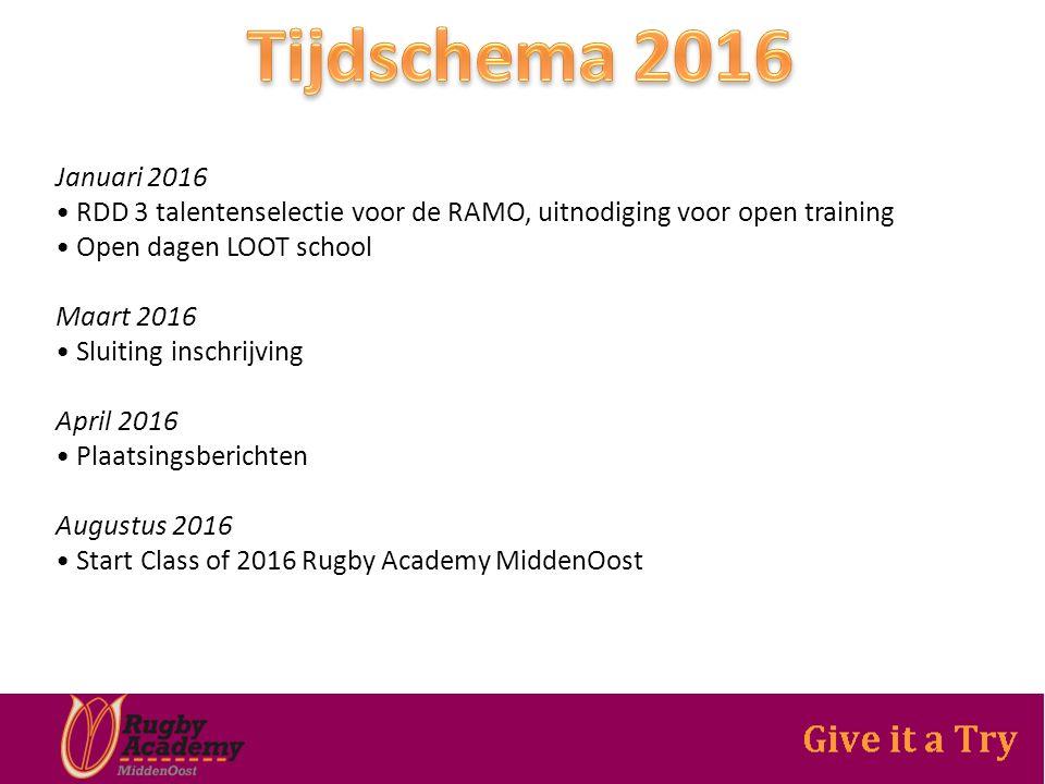 Januari 2016 RDD 3 talentenselectie voor de RAMO, uitnodiging voor open training Open dagen LOOT school Maart 2016 Sluiting inschrijving April 2016 Plaatsingsberichten Augustus 2016 Start Class of 2016 Rugby Academy MiddenOost