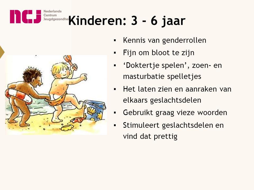 Kinderen: 3 - 6 jaar ▪Kennis van genderrollen ▪Fijn om bloot te zijn ▪'Doktertje spelen', zoen- en masturbatie spelletjes ▪Het laten zien en aanraken