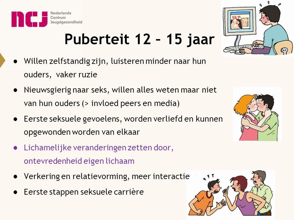 Puberteit 12 – 15 jaar ●Willen zelfstandig zijn, luisteren minder naar hun ouders, vaker ruzie ●Nieuwsgierig naar seks, willen alles weten maar niet v