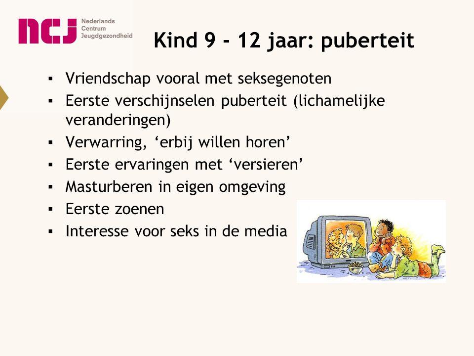 Kind 9 - 12 jaar: puberteit ▪Vriendschap vooral met seksegenoten ▪Eerste verschijnselen puberteit (lichamelijke veranderingen) ▪Verwarring, 'erbij wil