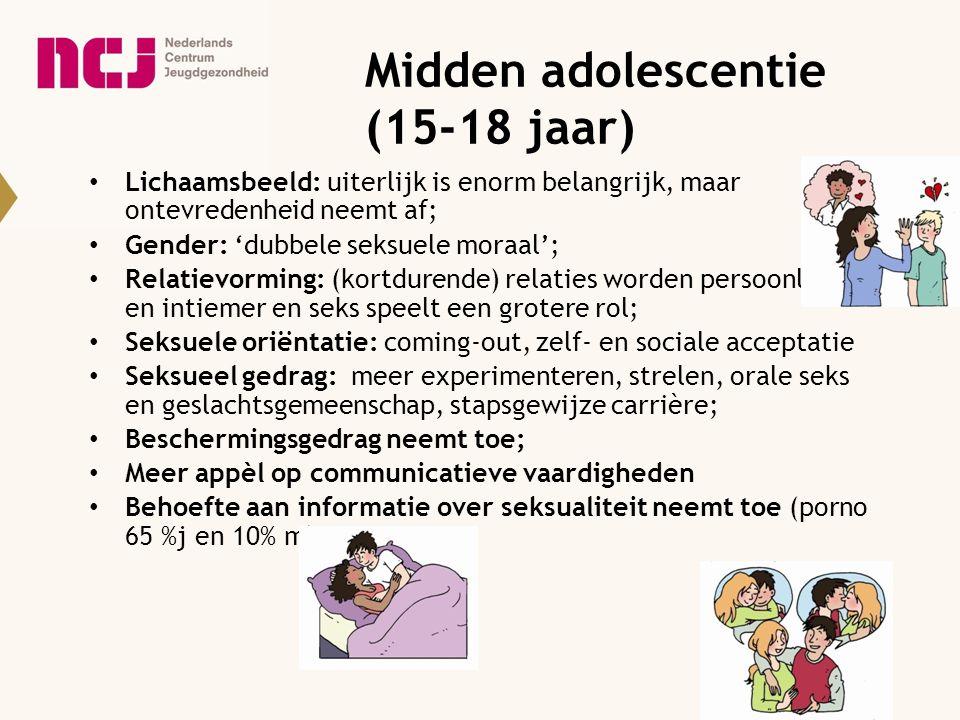 Midden adolescentie (15-18 jaar) Lichaamsbeeld: uiterlijk is enorm belangrijk, maar ontevredenheid neemt af; Gender: 'dubbele seksuele moraal'; Relati
