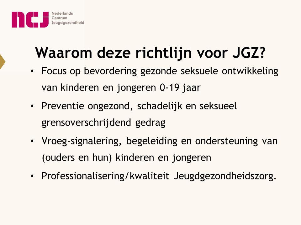 Behoeftepeiling voor JGZ-richtlijn 52% noodzakelijk 48% belangrijk maar niet noodzakelijk Behoeften en wensen: Lichamelijke ontwikkeling: 80% Psychoseksuele ontwikkeling: 66% Empowerment: 66% Seksuele risico's: 70% Opvoedingsondersteuning: 90%