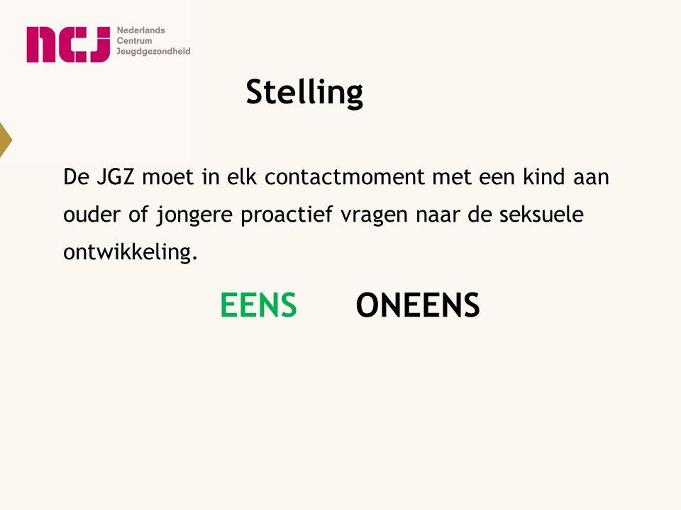 Stelling De JGZ moet in elk contactmoment met een kind aan ouder of jongere proactief vragen naar de seksuele ontwikkeling. EENSONEENS