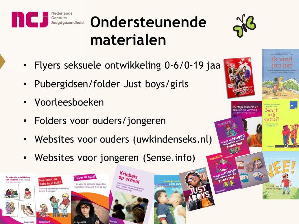 Ondersteunende materialen Flyers seksuele ontwikkeling 0-6/0-19 jaa Pubergidsen/folder Just boys/girls Voorleesboeken Folders voor ouders/jongeren Web