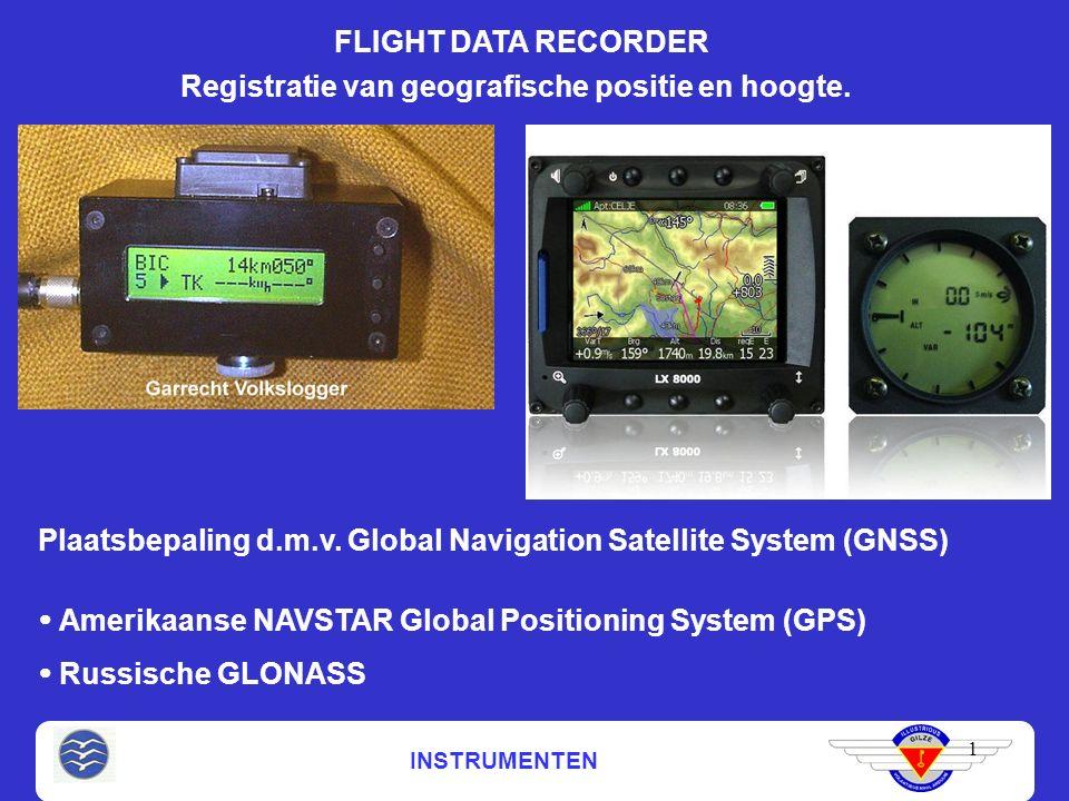 INSTRUMENTEN FLIGHT DATA RECORDER 1 Registratie van geografische positie en hoogte. Plaatsbepaling d.m.v. Global Navigation Satellite System (GNSS) 