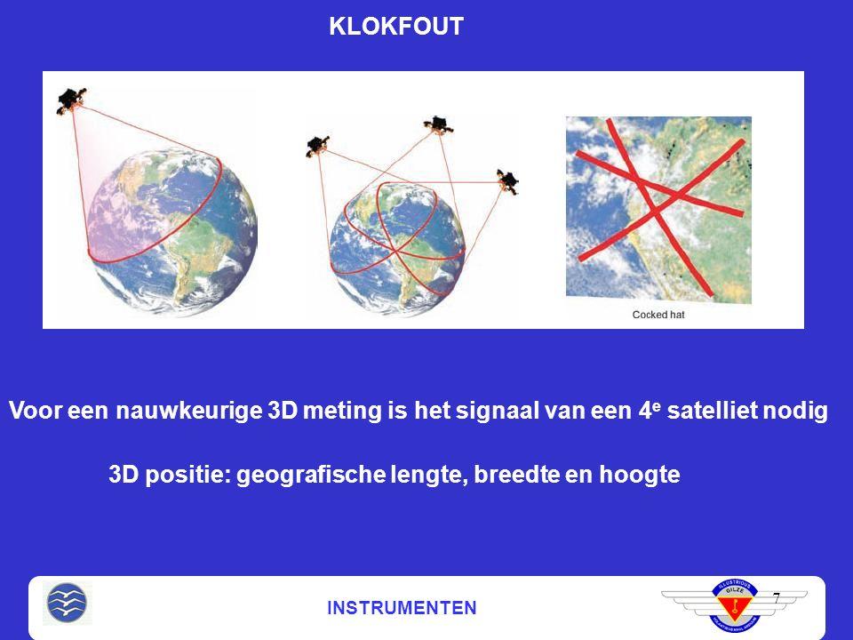 INSTRUMENTEN 7 KLOKFOUT Voor een nauwkeurige 3D meting is het signaal van een 4 e satelliet nodig 3D positie: geografische lengte, breedte en hoogte