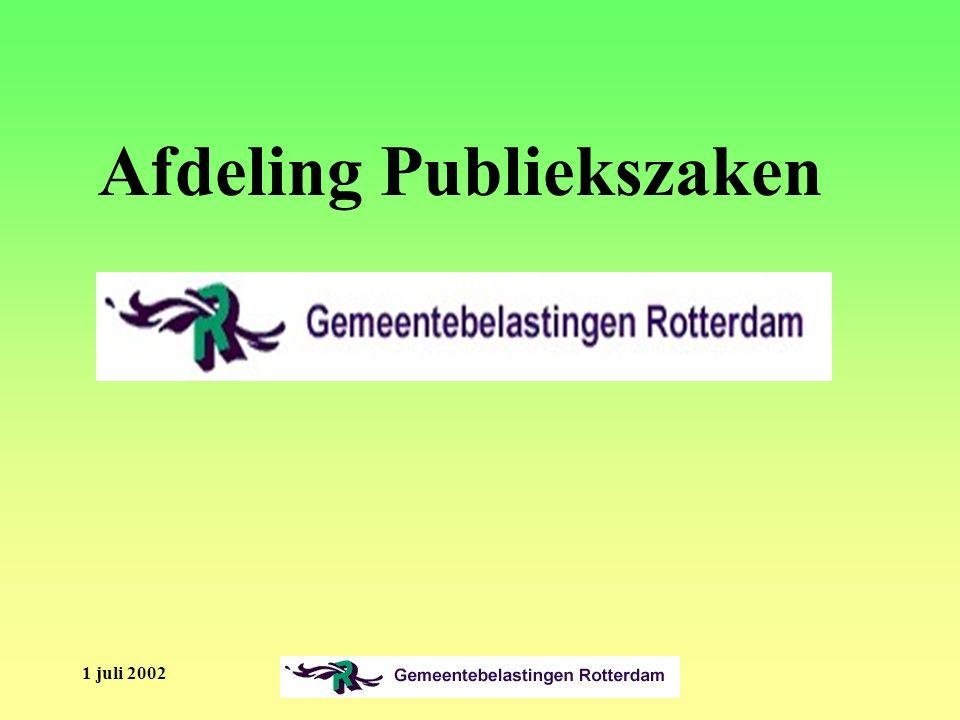 1 juli 2002 Afdeling Publiekszaken