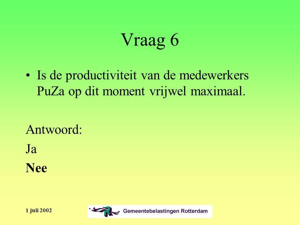1 juli 2002 Vraag 6 Is de productiviteit van de medewerkers PuZa op dit moment vrijwel maximaal.