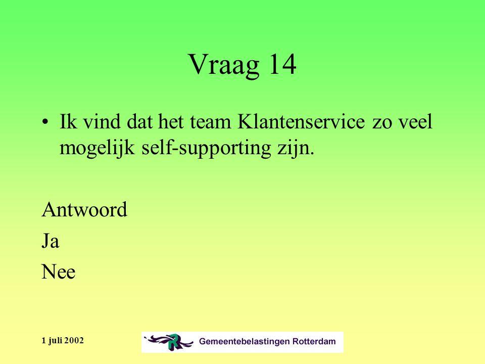 1 juli 2002 Vraag 14 Ik vind dat het team Klantenservice zo veel mogelijk self-supporting zijn.