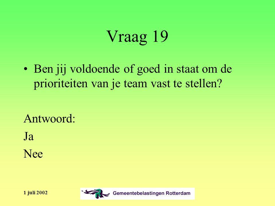 1 juli 2002 Vraag 19 Ben jij voldoende of goed in staat om de prioriteiten van je team vast te stellen.