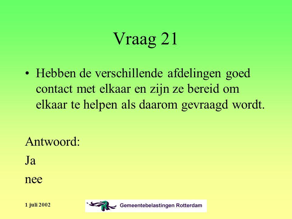 1 juli 2002 Vraag 21 Hebben de verschillende afdelingen goed contact met elkaar en zijn ze bereid om elkaar te helpen als daarom gevraagd wordt.